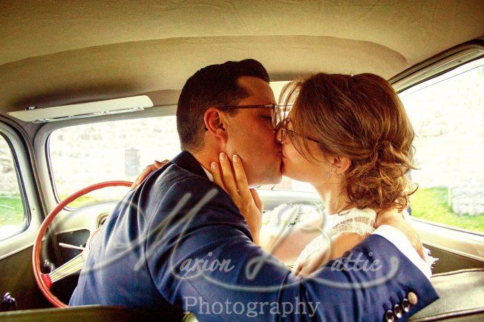 Mariage, voiture, couple, mariés, Le Chambon-sur-Lignon, Haute-Loire, Auvergne, France