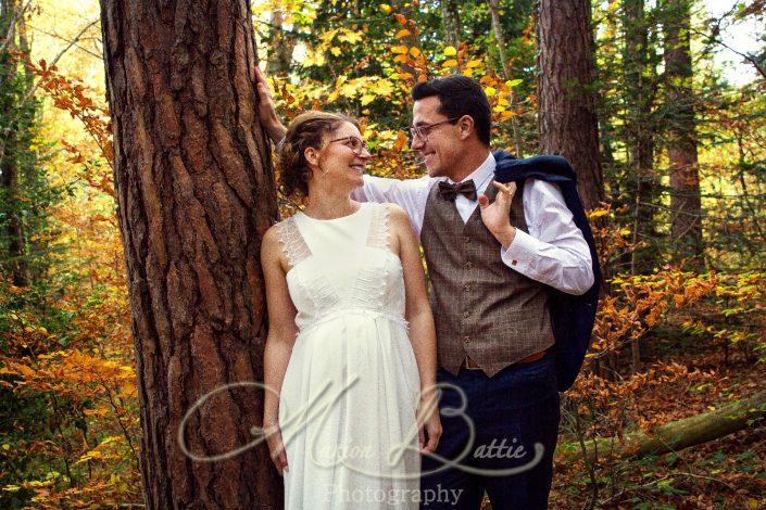 Mariage, séance couple, forêt, automne Le Chambon-sur-Lignon, Haute-Loire, Auvergne, France