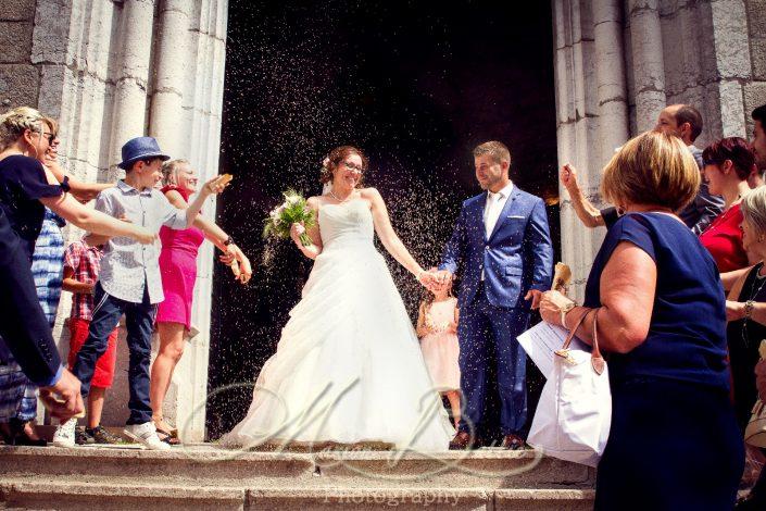 Mariage, mariés, église, Sainte-Sigolène, Haute-Loire, France