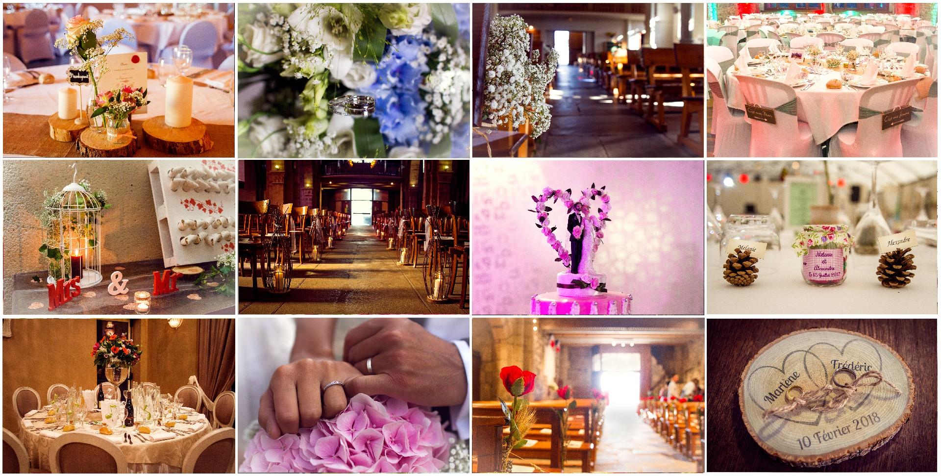 détails, bouquets, église, gâteau, alliances, fleurs, décorations, mariages, Haute-Loire, Auvergne