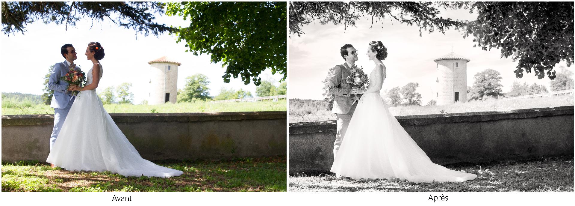 Chateau de Chazelles, Saint-André-de-Chalencon, été, mariage, séance couple, noir et blanc, reportage de mariage